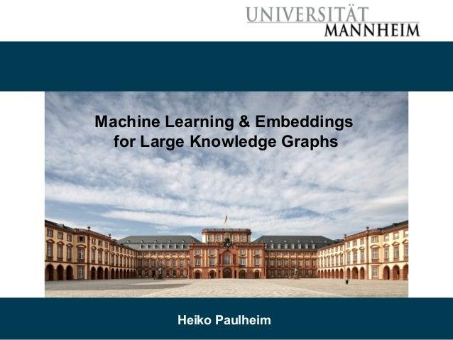 7/2/19 Heiko Paulheim 1 Machine Learning & Embeddings for Large Knowledge Graphs Heiko Paulheim
