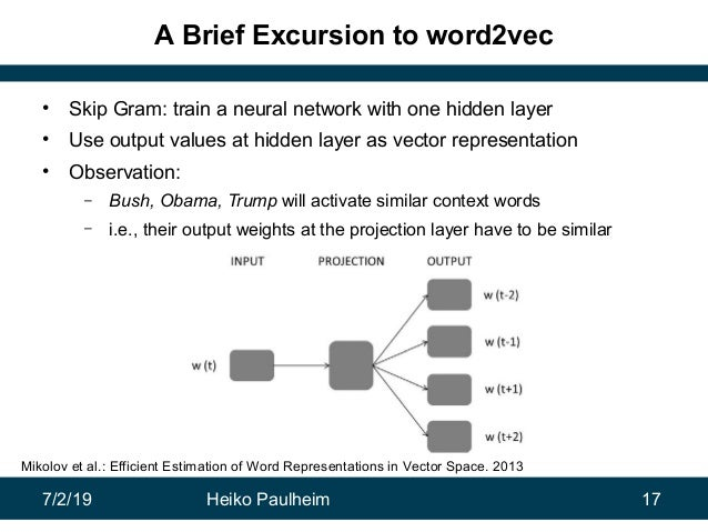 7/2/19 Heiko Paulheim 17 A Brief Excursion to word2vec • Skip Gram: train a neural network with one hidden layer • Use out...