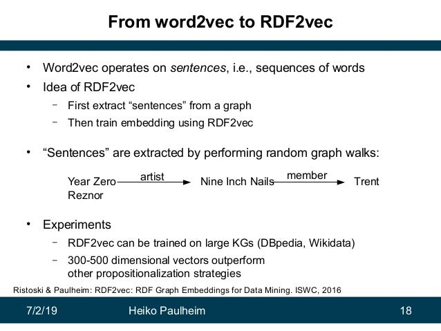 7/2/19 Heiko Paulheim 18 From word2vec to RDF2vec • Word2vec operates on sentences, i.e., sequences of words • Idea of RDF...