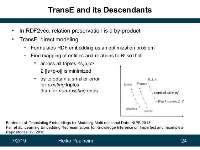 7/2/19 Heiko Paulheim 24 TransE and its Descendants • In RDF2vec, relation preservation is a by-product • TransE: direct m...