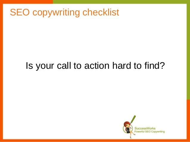 SEO copywriting checklist   Is your call to action hard to find?