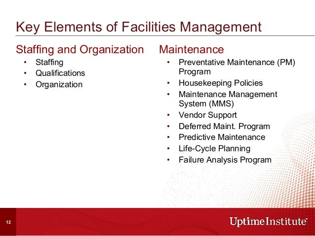 Key Elements of Facilities Management Staffing and Organization • Staffing • Qualifications • Organization Maintenance ...