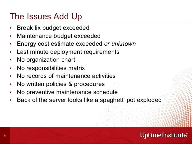 • Break fix budget exceeded • Maintenance budget exceeded • Energy cost estimate exceeded or unknown • Last minute dep...