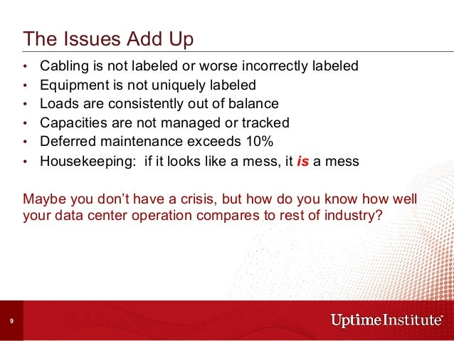 • Cabling is not labeled or worse incorrectly labeled • Equipment is not uniquely labeled • Loads are consistently out ...