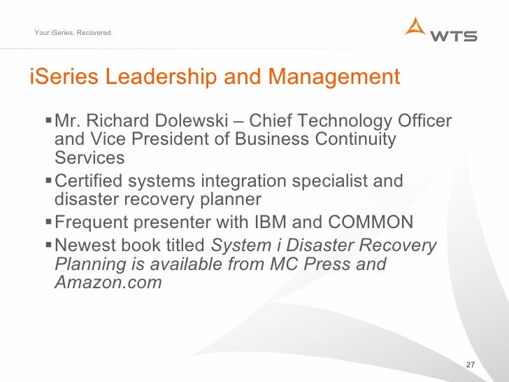 disaster recovery is your iseries recoverable