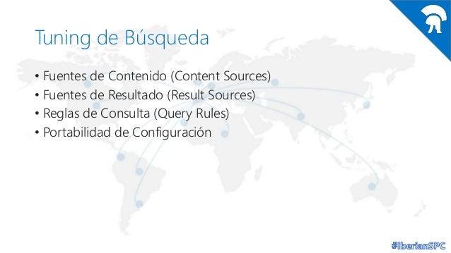 Tuning de Búsqueda • Fuentes de Contenido (Content Sources) • Fuentes de Resultado (Result Sources) • Reglas de Consulta (...