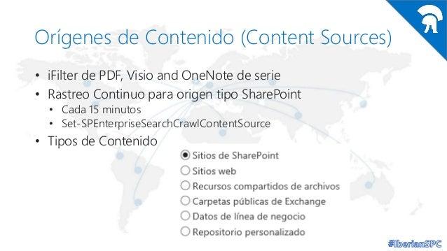 Orígenes de Contenido (Content Sources) • iFilter de PDF, Visio and OneNote de serie • Rastreo Continuo para origen tipo S...
