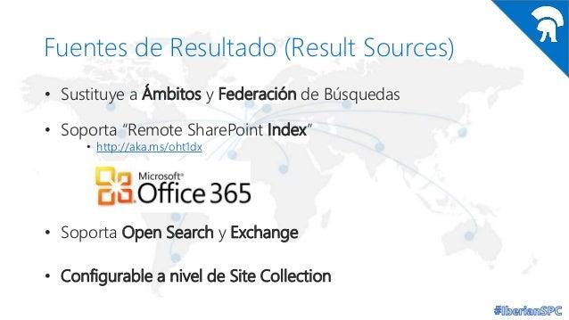 """Fuentes de Resultado (Result Sources) • Sustituye a Ámbitos y Federación de Búsquedas  • Soporta """"Remote SharePoint Index""""..."""