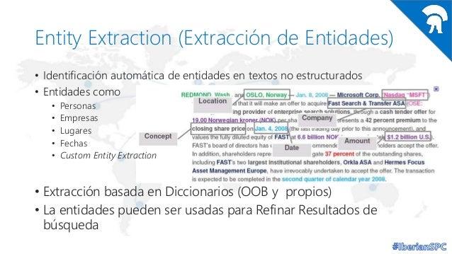 Entity Extraction (Extracción de Entidades) • Identificación automática de entidades en textos no estructurados • Entidade...