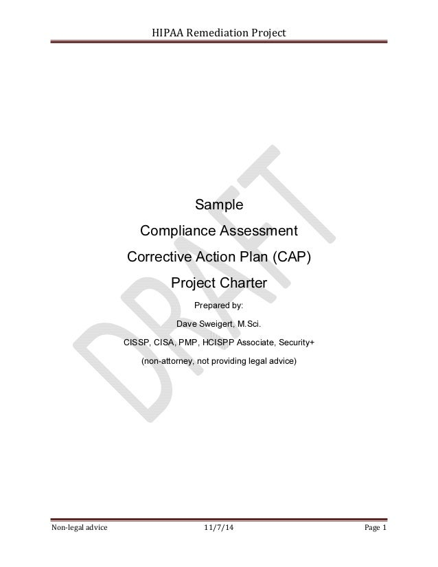 Sample Hipaa Security Rule Corrective Action Plan Project Charter