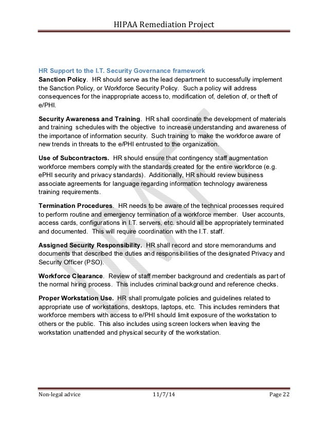 Sample hipaa security rule corrective action plan project for Information security standards template