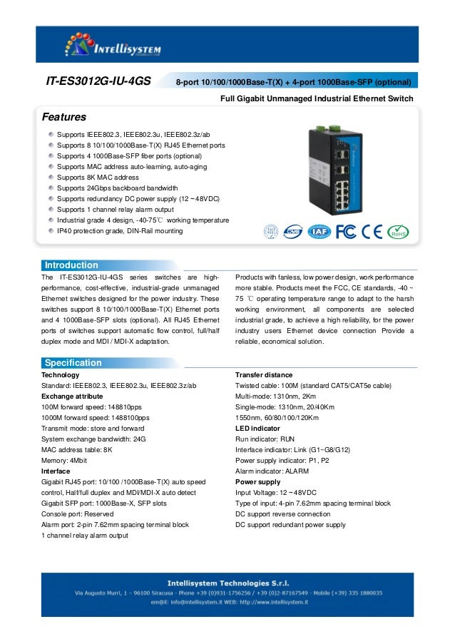 IT-ES3012G-IU-4GS - Switch Ethernet Unmanaged Industrial