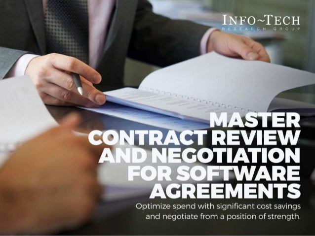 Master Contract Review And Negotiation For Software Agreements Sample