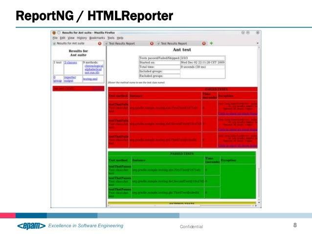 ReportNG / HTMLReporter Confidential 8