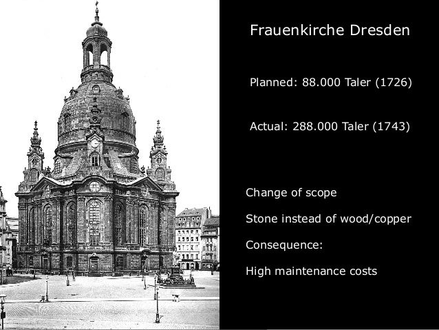 Frauenkirche Dresden Planned: 88.000 Taler (1726) Actual: 288.000 Taler (1743) Change of scope Stone instead of wood/coppe...