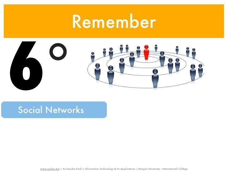 Remember6°Social Networks     www.sayfun.me | AJ Sascha Funk | Information Technology & Its Applications | Rangsit Univers...