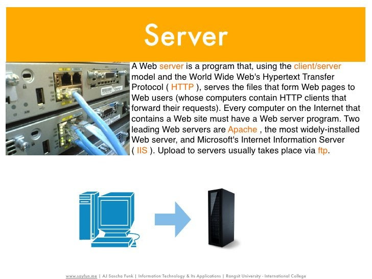 Server                                A Web server is a program that, using the client/server                             ...