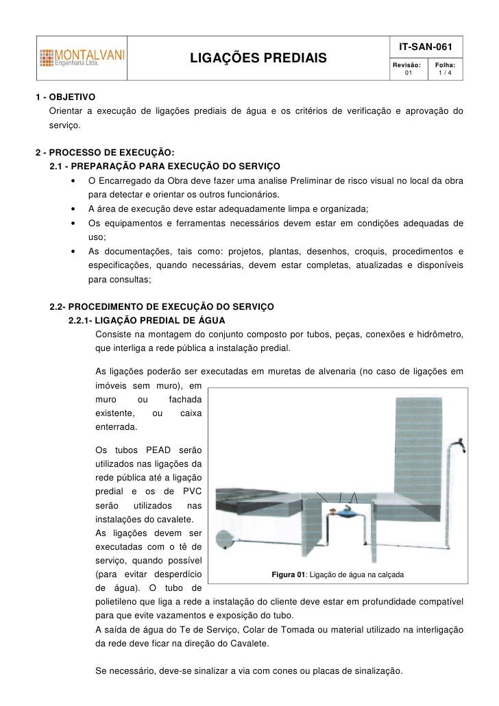 IT-SAN-061                                   LIGAÇÕES PREDIAIS                                Revisão:   Folha:           ...