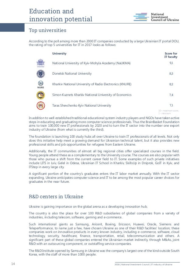 Education and innovation potential 14 2018   National Investment Council   IT industry of Ukraine Top universities Accordi...