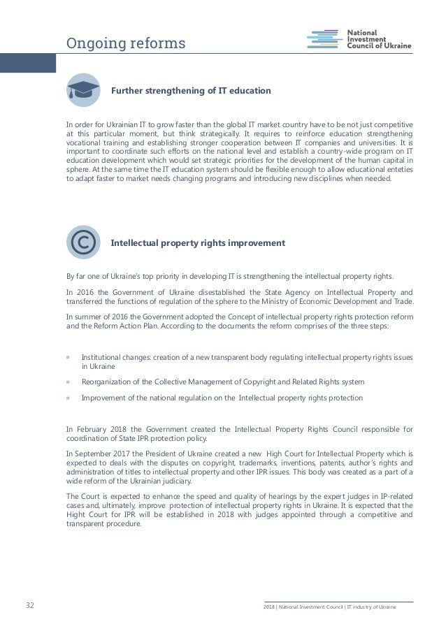 Ongoing reforms 32 2018   National Investment Council   IT industry of Ukraine Further strengthening of IT education In or...
