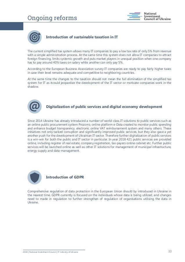 Ongoing reforms 332018   National Investment Council   IT industry of Ukraine Introduction of sustainable taxation in IT T...