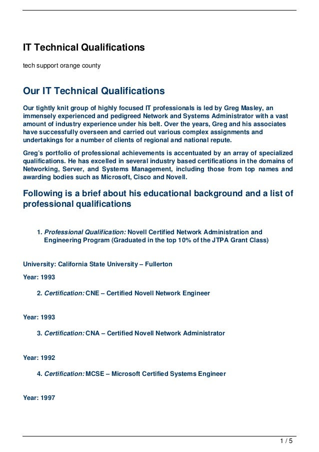 it technical qualifications