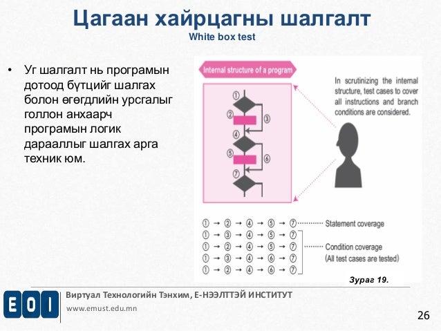 Цагаан хайрцагны шалгалт  Виртуал Технологийн Тэнхим, Е-НЭЭЛТТЭЙ ИНСТИТУТ  www.emust.edu.mn  26  • Уг шалгалт нь програмын...