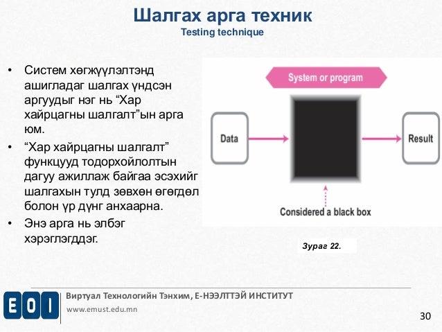 Виртуал Технологийн Тэнхим, Е-НЭЭЛТТЭЙ ИНСТИТУТ  www.emust.edu.mn  30  • Систем хөгжүүлэлтэнд  ашигладаг шалгах үндсэн  ар...