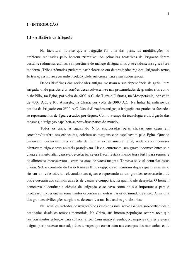 1 1 - INTRODUÇÃO 1.1 - A História da Irrigação Na literatura, nota-se que a irrigação foi uma das primeiras modificações n...