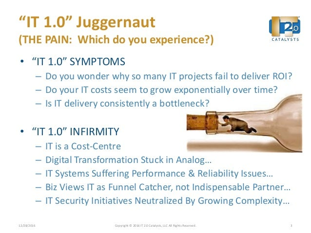 """""""IT 1.0"""" Juggernaut (THE PAIN: Which do you experience?) • """"IT 1.0"""" SYMPTOMS – Do you wonder why so many IT projects fail ..."""