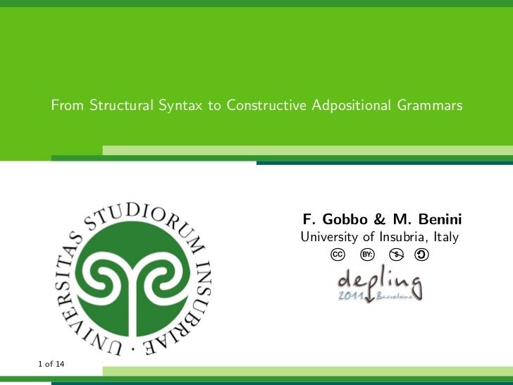 From Structural Syntax to Constructive Adpositional Grammars                                       F. Gobbo & M. Benini   ...