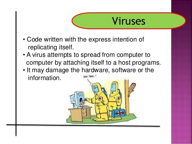 a description of a computer virus which is often a malicious software which replicates itself The word malware is short for malicious software,  the term computer virus is often used interchangeably with malware, though the two don't actually have the same meaning in the strictest.