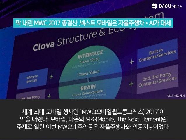 막 내린 MWC 2017 총결산 ,넥스트 모바일은자율주행차•AI가대세 세계 최대 모바일 행사인 'MWC(모바일월드콩그레스) 2017'이 막을 내렸다. 모바일, 다음의 요소(Mobile, The Next Element)란...