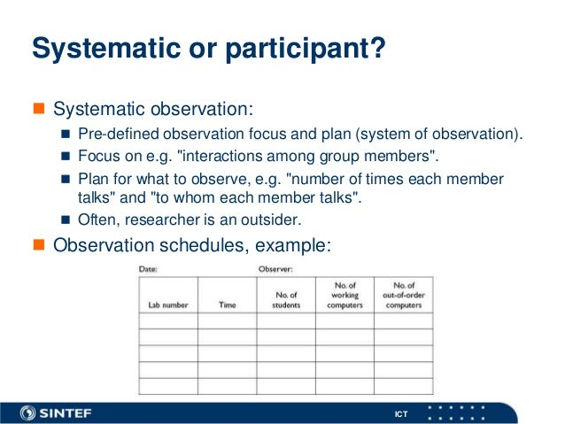systematic observation Systematic observation is a calculated form of observation used to either support or disprove a hypothesis for an observation to be systematic, it must be free of.