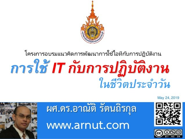 Page 1 Powerpoint Templates ผศ.ดร.อาณัติ รัตนถิรกุล www.arnut.com May 24, 2019 โครงการอบรมแนวคิดการพัฒนาการใช้ไอทีกับการปฏ...