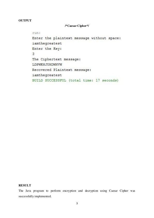 caesar cipher program in java