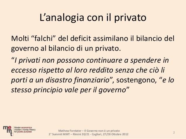 Il Governo non è un privato  Slide 2