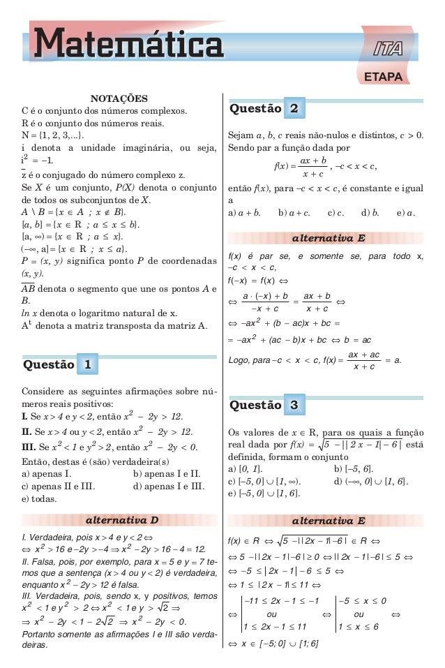 NOTAÇÕES C é o conjunto dos números complexos. R é o conjunto dos números reais. N = {1, 2, 3,...}. i denota a unidade ima...