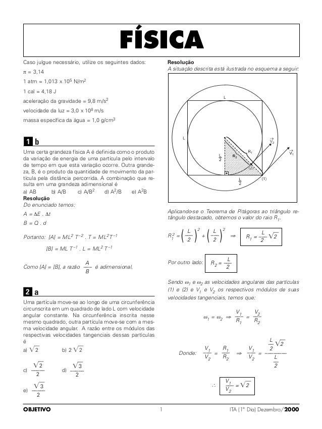 Caso julgue necessário, utilize os seguintes dados:π = 3,141 atm = 1,013 x 105 N/m21 cal = 4,18 Jaceleração da gravidade =...