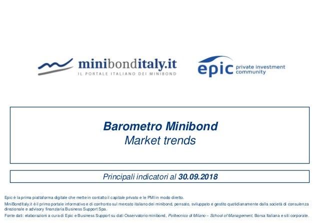 Principali indicatori al 30.09.2018 Barometro Minibond Market trends Fonte dati: elaborazioni a cura di Epic e Business Su...