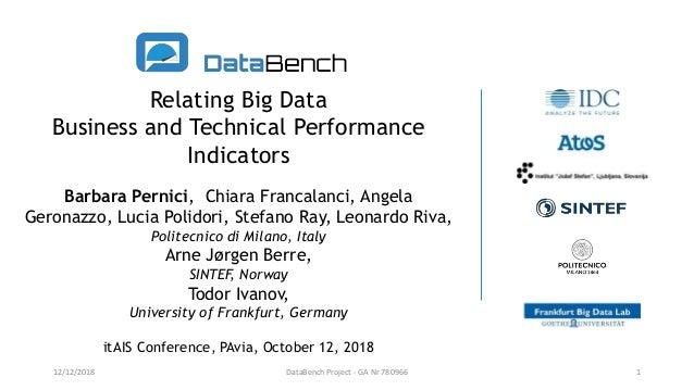 Relating Big Data Business and Technical Performance Indicators Barbara Pernici, Chiara Francalanci, Angela Geronazzo, Luc...