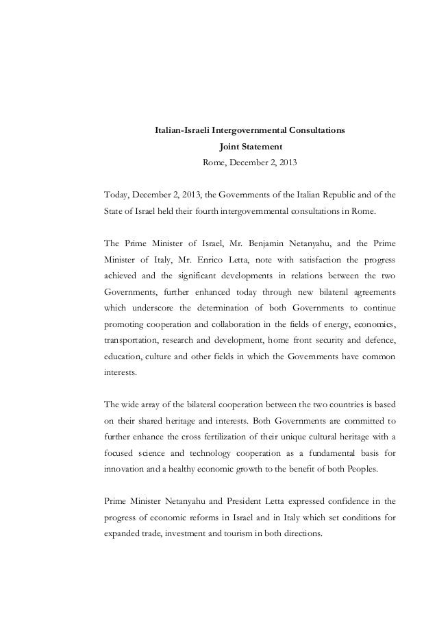 Italian-Israeli Intergovernmental Consultations Joint Statement Rome, December 2, 2013 Today, December 2, 2013, the Govern...