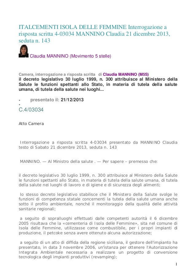 ITALCEMENTI ISOLA DELLE FEMMINE Interrogazione a risposta scritta 4-03034 MANNINO Claudia 21 dicembre 2013, seduta n. 143 ...