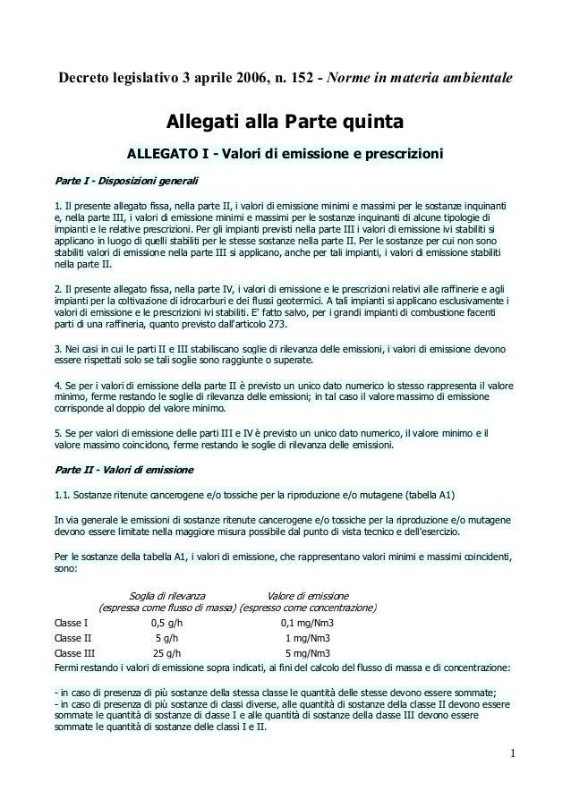 Decreto legislativo 3 aprile 2006, n. 152 - Norme in materia ambientale  Allegati alla Parte quinta ALLEGATO I - Valori di...