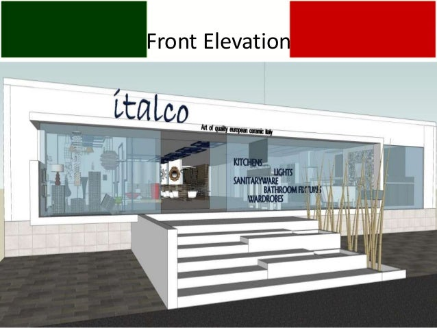 Front Elevation Of Small Showroom : Italco italy showroom format