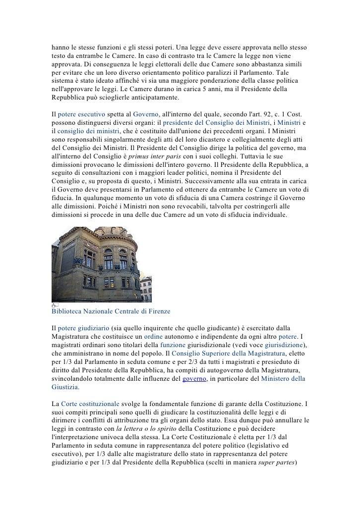Italia for Le due camere del parlamento