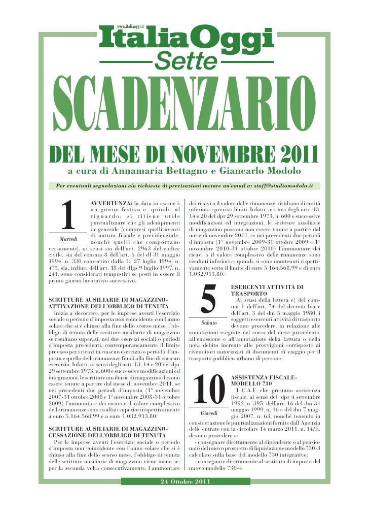 SCADENZARIO            DEL MESE DIBettagno e Giancarlo Modolo                                  NOVEMBRE 2011              ...