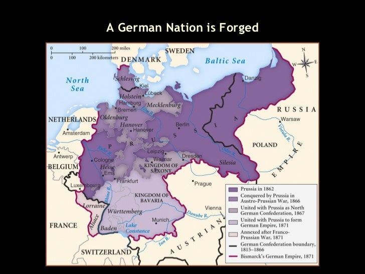 Italian And German Unification - Germany unification map
