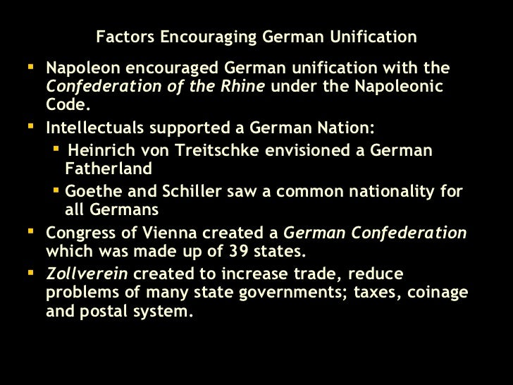 italian and german unification  18 factors encouraging german unification