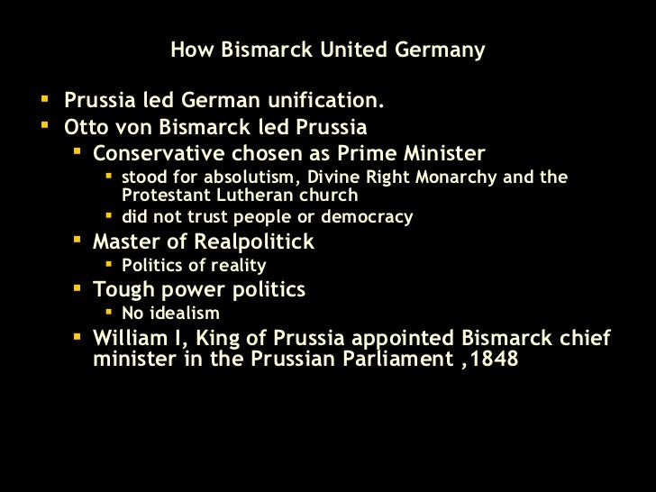 bismarck unification essay Free unification of germany papers, essays the importance of bismarck to german unification - the importance of bismarck to german unification when bismarck.